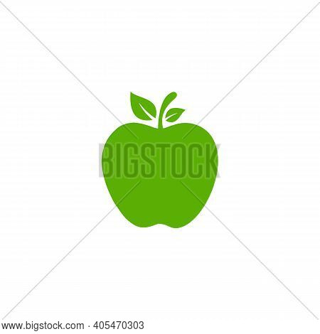 Apple Logo, Apple Icon Vector, Green Apple With Leaf Vector Illustration