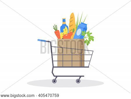 Grocery Shopping Cart. Full Grocery Basket. Shopping Cart With Fresh Products. Self-service Store Pr