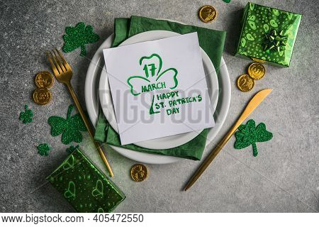 Beautiful Festive Table Setting For St.patricks Day With Cutlery And Lucky Symbols. Copy Spase In Ce