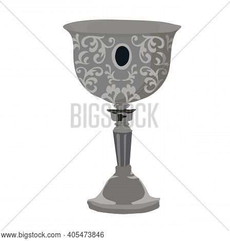 Medieval Cup Vector Stock Illustration. The Silver Bowl Is Medieval. A Knight's Glass Of Wine. Isola