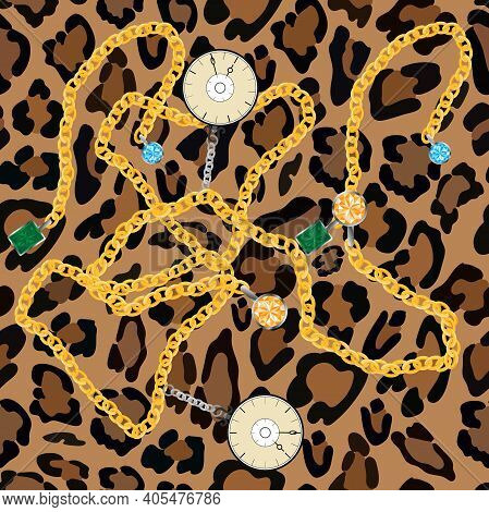Vector Seamless Pattern Of Leopard Skin With Gold Chains With Gemstone, Peridot, Blue Topaz And Vint