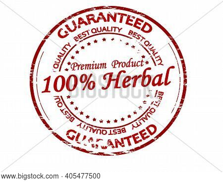 Rubber Stamp With Text One Hundred Percent Herbal Inside, Vector Illustration