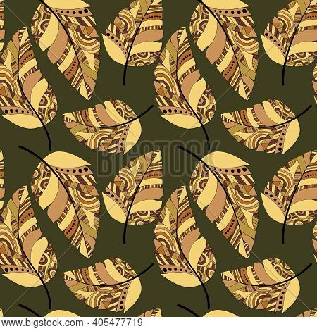 Plumage Seamless Pattern. Vector Isolated Plume On A Green Background. Bright Colored Feathers. Desi