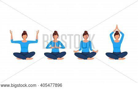Woman Practices Yoga, Various Yoga Positions. Four Different Lotus Position. Meditation, Namaste, Ha