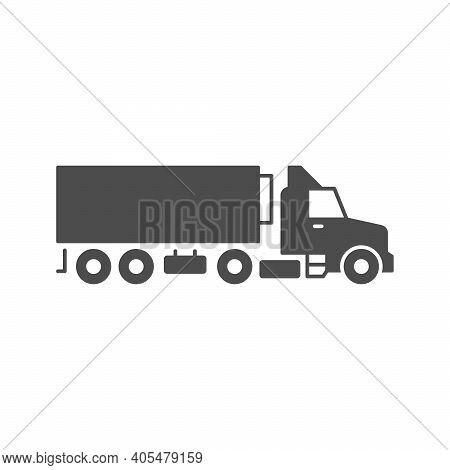 Refrigerated Trailer Truck Glyph Icon Isolated On White. Vector Illustration