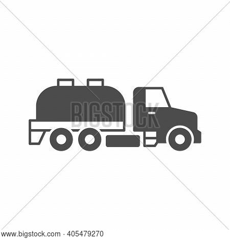 Sewage Truck Glyph Icon Isolated On White. Vector Illustration