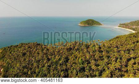Aerial Drone View Small Koh Ma Island, Ko Phangan Thailand. Exotic Coast Panoramic Landscape, Mae Ha