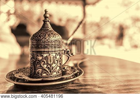 Turkish Coffee With Traditional Embossed Metal Tray And Cup. Toned