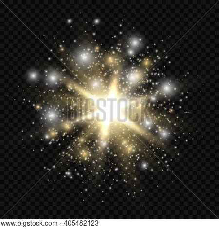 Star Burst With Sparkles. Golden And Silver Light Flare Effect With Stars, Sparkles And Glitter Isol