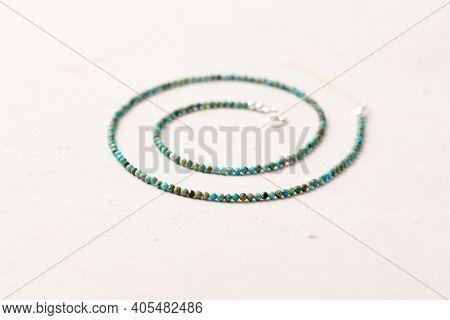 A Short Necklace Or Beads Made Of Natural Turquoise And 925 Sterling Silver. Handmade Jewelry. Neckl