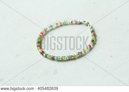 Bright Bracelet Made Of Natural Stones. Multi-colored Tourmaline, Green, Pink And Yellow. Handmade J