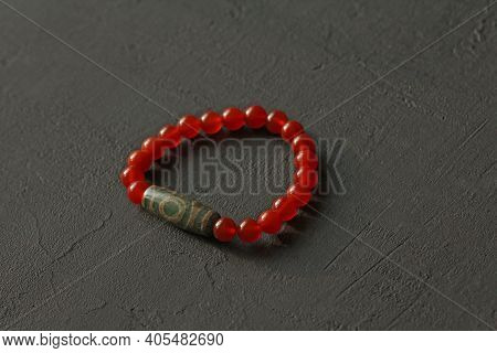 Bracelet Made Of Natural Stones. Carnelian Tibetan Dzi Bead. Handmade Jewelry. Handmade Bracelets On