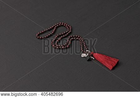 Buddhist Rosary Mala 108 Beads From Natural Garnet With A Beautiful Tassel Fringe. Long Rosary Beads