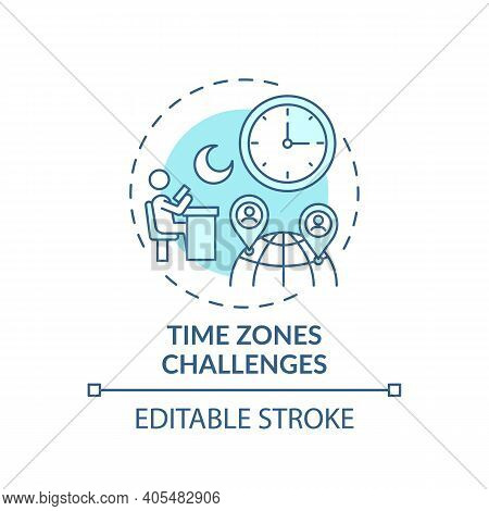 Time Zones Challenges Concept Icon. Online English Teaching Challenges. Get On With New Place Of Stu