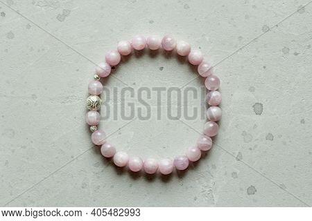 Kunzite Bracelet. Bracelet Made Of Stones On Hand From Natural Stone Kunzite. Bracelet Made Of Natur