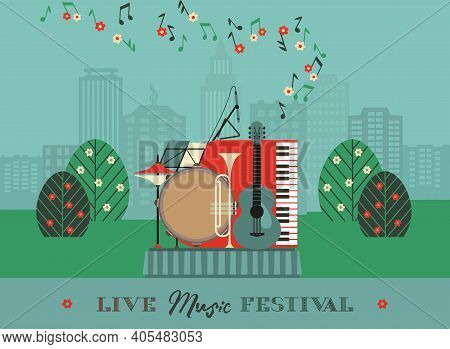 Live Music Outdoor Festival Poster Vector Template. Spring Summer Musical Performance Background. Mu