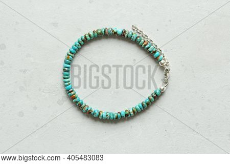 Turquoise Bracelet. Bracelet Made Of Stones On Hand From Natural Stone Turquoise. Bracelet Made Of N