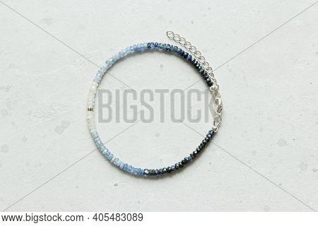 Sapphire Bracelet. Bracelet Made Of Stones On Hand From Natural Stone Sapphire. Bracelet Made Of Nat