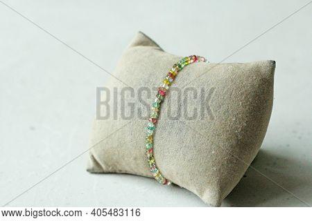 Tourmaline Bracelet. Bracelet Made Of Stones On Hand From Natural Stone Tourmaline. Bracelet Made Of