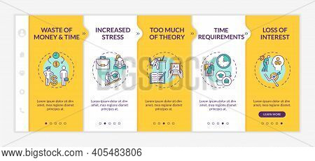 Employee Training And Development Disadvantages Onboarding Vector Template. Money Wasting. Too Much