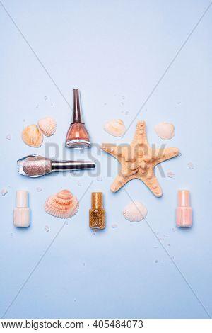Seashells And Flatley Nail Polish . Delicate Nail Polish. Nail Polish. Women's Manicure And Pedicure
