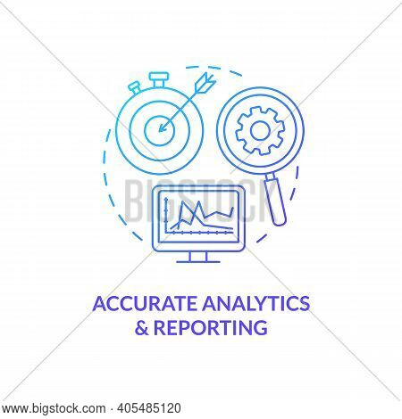Accurate Analytics And Reporting Concept Icon. Marketing Efforts Improvement Idea Thin Line Illustra