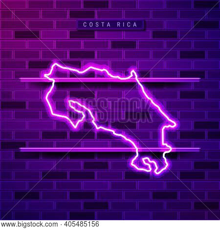 Costa Rica Map Glowing Neon Lamp Sign. Realistic Vector Illustration. Country Name Plate. Purple Bri