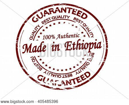 Rubber Stamp With Text Made In Ethiopia Inside, Vector Illustration