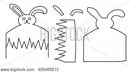 Diy, Step-by-step Instructions. Step 0. Rabbit Sketch And Diy Elements For Cutting Out Patterns.