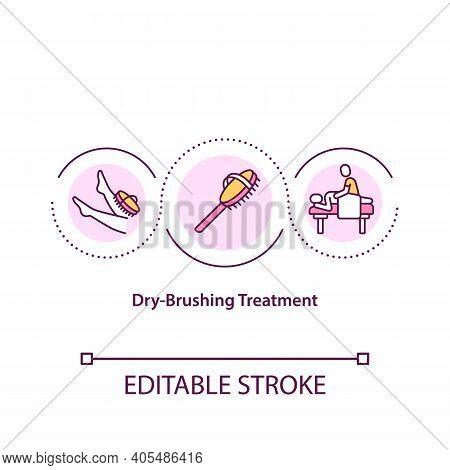 Dry-brushing Treatment Concept Icon. Home Spa Procedures Idea Thin Line Illustration. Natural Skin B