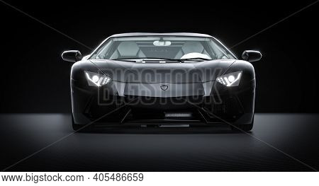 black sports car on carbon fiber background. 3d render.