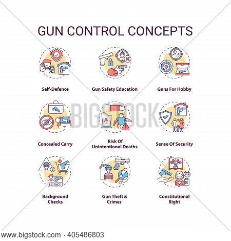 Gun Control Concept Icons Set. Self Defense. Safety Education. Concealed Carry. Firearm Regulation I
