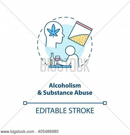 Alcoholism And Substance Abuse Concept Icon. Drug Addiction. Narcotic Dependence. Bad Habit, Unhealt