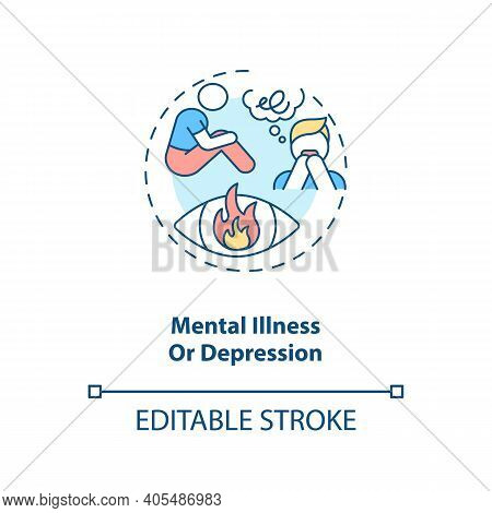 Mental Illness Or Depression Concept Icon. Anxiety And Stress. Psychotherapy And Psychotherapy Idea