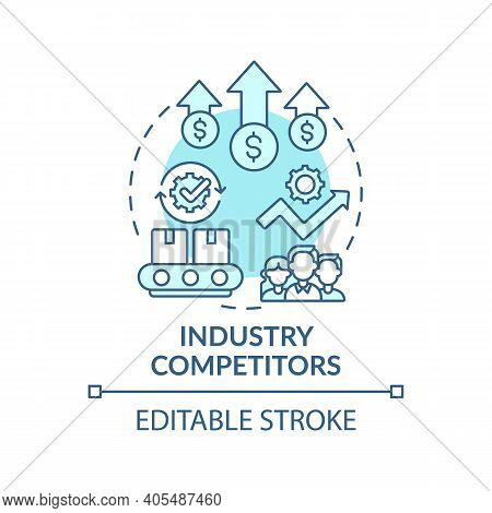 Industry Competitors Concept Icon. Competitive Rivalry Idea Thin Line Illustration. Extending Compet