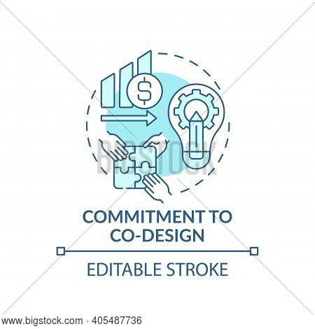 Commitment To Co-design Concept Icon. Condition For Co-design Idea Thin Line Illustration. Sharing D