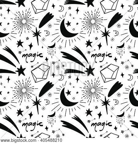 Seamless Pattern With Mystical And Starry Elements. A Repeating Pattern With Shooting Stars And Crys