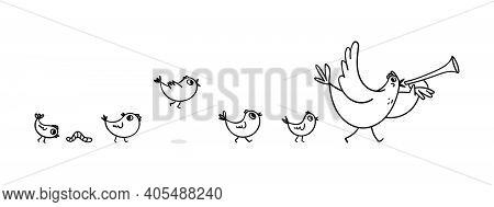 Cheerful Vector Illustration Of A Hen With Chicks. An Adult Chicken With A Horn In The Wing Leads A