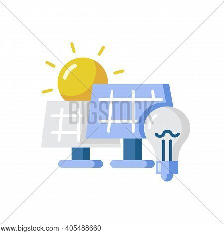 Solar Power Station Vector Flat Color Icon. Renewable Energy, Alternative Electricity Source. Power