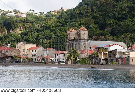 The Harbor Of Caribbean Saint Pierre Town Located On Martinique Island, French West Indies.