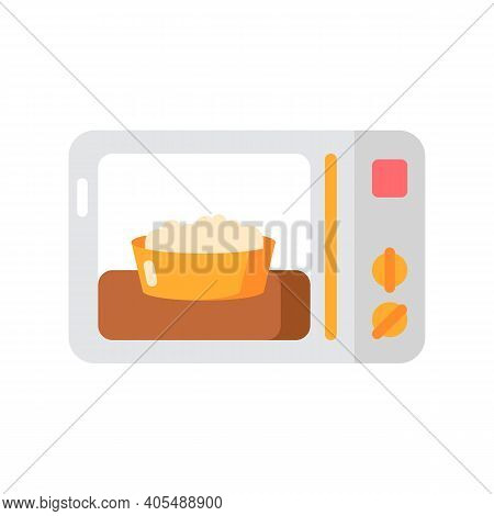 Ready Meal Vector Flat Color Icon. Microwave Food. Heated Popcorn In Bowl. Meal Preparation. Kitchen