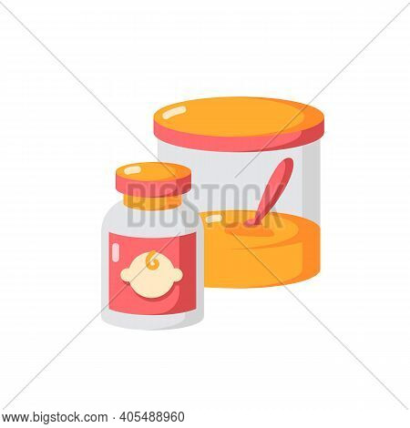 Baby Food Vector Flat Color Icon. Instant Formula For Infants. Healthcare For Newborn Kids. Feeding