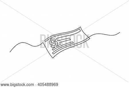 Bank Check, Bank Cheque. Continuous One Line Drawing.