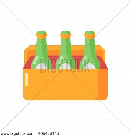 Beer Vector Flat Color Icon. Alcoholic Beverage In Cooler. Booze In Package. Drinks Sixpack. Party R