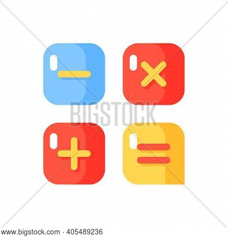 Calculator App Vector Flat Color Icon. Arithmetic Operations. Performing Calculations. Smartphone In