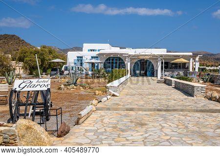 Ios, Greece - September 22, 2020: Summer Hotel Next To The Gialos Beach On The Island Of Ios. Greece