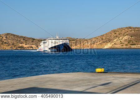 Ios, Greece - September 22, 2020: Caldera Vista, High Speed Catamaran Owned By Seajets Enters Ios Po