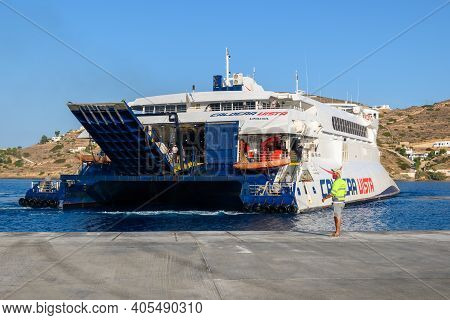 Ios, Greece - September 22, 2020: Caldera Vista, A High Speed Craft Owned By Seajets In Ios Port. Cy