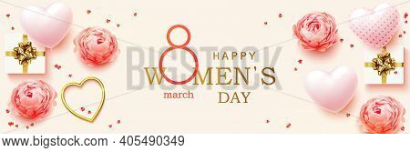 8 March. Womens Day Horizontal Banner For The Website. Postcard On March 8. Romantic Background With