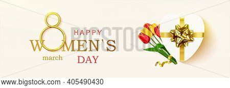 Womens Day Greeting Card, Horizontal Banner. Postcard On March 8 With Realistic Design Elements, Gif